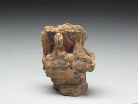 彩绘二佛并坐石像吉林省半拉城遗址出土