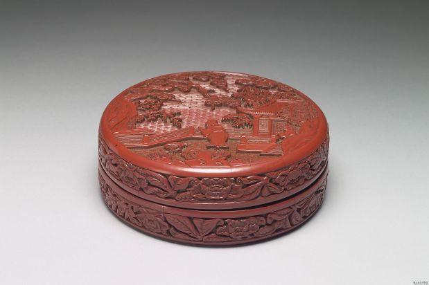 剔红山水人物圆盒 明永乐