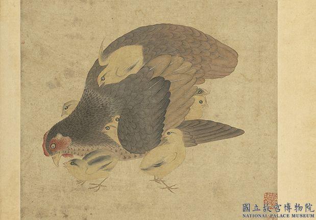 集古图绘册宋王凝子母鸡