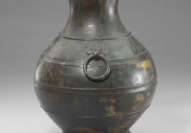 战国鎏金嵌异金属兽环壶