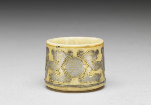 清乾隆象牙雕嵌金银班指附紫檀木盒